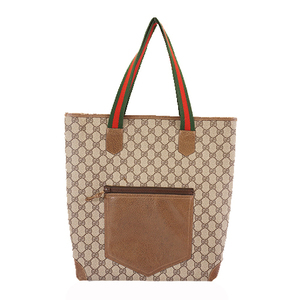 Auth Gucci Sherry Line Tote Bag Women's GG Supreme Beige