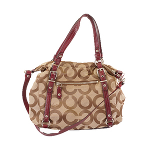 Auth Coach Op Art 2Way Bag 15275 Canvas Handbag,Shoulder Bag Beige,Bordeaux