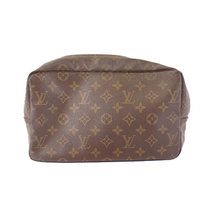 Auth Louis Vuitton Monogram Trousse Toilette28 M47522 Clutch Bag,Pouch Brown