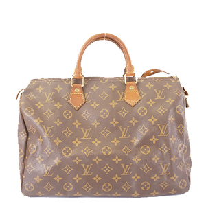 Auth Louis Vuitton Monogram Speedy 35 M41107 Boston Bag,Handbag Brown