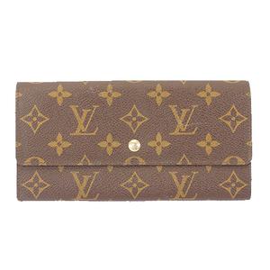 Auth Louis Vuitton Monogram Pochette Porto Monet Credit M61723 Long Wallet