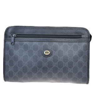 Gucci GG Pattern PVC Clutch Bag Black