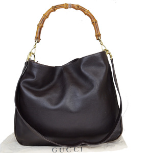 Gucci Bamboo 2Way Leather Shoulder Bag Brown