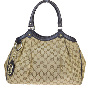 Gucci GG Canvas GG Pattern Canvas,Leather Shoulder Bag Brown