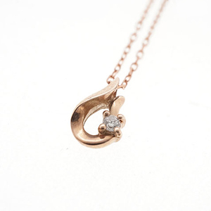 Diamond Necklace K10 Pink Gold 0.01ct