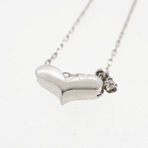 ネックレス ダイヤネックレス 一粒ダイヤ ハートモチーフ K10WG ホワイトゴールド 天然ダイヤモンド 0.01ct