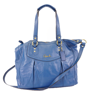 Auth Coach 2WAY Bag  F20104 Women's Leather Handbag,Shoulder Bag Blue