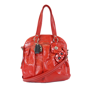 Auth Coach Poppy F16491 Women's Patent Leather Handbag,Shoulder Bag Red Color