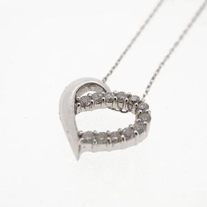 ネックレス ダイヤネックレス ハートモチーフ K18WG ホワイトゴールド 天然ダイヤモンド 0.12ct