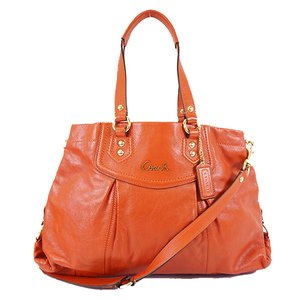 Auth Coach F19243 Women's Leather Handbag,Shoulder Bag Red Color