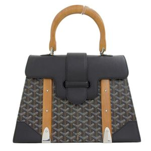 Goyard Genuine GO YARD Goyar PVC x Leather Saigon GM Handbag Herringbone Black