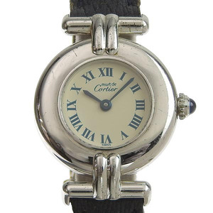 CARTIER Must Colisee Steel Leather Quartz Ladies Watch 690002