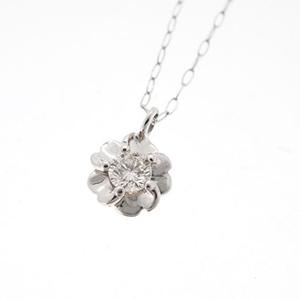 ネックレス ダイヤネックレス 一粒ダイヤ フラワーモチーフ Pt900 Pt850 プラチナ 天然ダイヤモンド 0.10ct