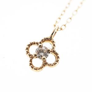 ネックレス ダイヤネックレス フラワーモチーフ クローバーモチーフ K10YG イエローゴールド 天然ダイヤモンド 0.03ct