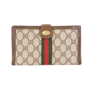 Auth Gucci GG Supreme Sherry Tri-fold Long Wallet Beige