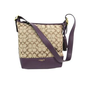 Coach Signature Legacy Signature Duffle 25380 Women's Canvas Leather Shoulder Bag Khaki,Purple