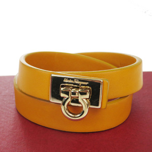 Salvatore Ferragamo Double Winding Leather Charm Bracelet Orange