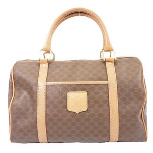 Auth Celine Macadam Handbag Women's PVC Boston Bag,Handbag Brown