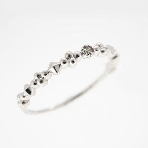 Auth Diamond Ring One Diamond  White Gold Natural Diamond Carat/0.01