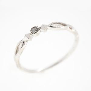 Auth Diamond Ring One Diamond Ring White Gold Natural Diamond Carat/0.01