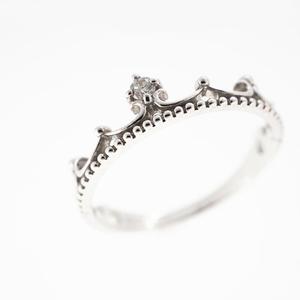 Auth Diamond Ring Single Diamond King Motif White Gold Natural Diamond  0.02ct
