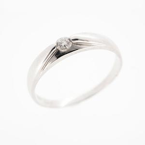 Auth Diamond Ring One Diamond  White Gold Natural Diamond  0.06ct