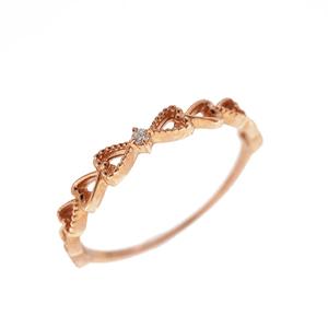 Auth Diamond Ring One Diamond Heart Motif Pink Gold Natural Diamond Carat/0.01