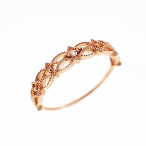 Auth Diamond Ring One Diamond Pink Gold Pink Gold (10K)