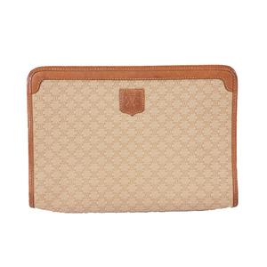 Auth Celine Macadam Clutch Bag Women's PVC Clutch Bag Beige