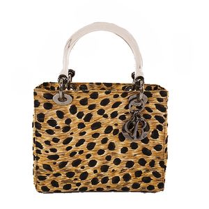 Auth Christian Dior Lady Dior Handbag Women's Canvas Handbag Beige