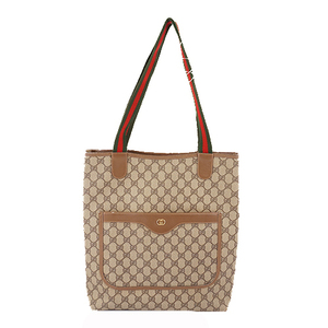 Auth Gucci Sherry Line 002.123.6487 Men,Women,Unisex GG Supreme Shoulder Bag,Tote Bag Beige