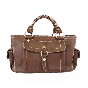 Auth Celine Boogie Bag Women's Leather Handbag Brown