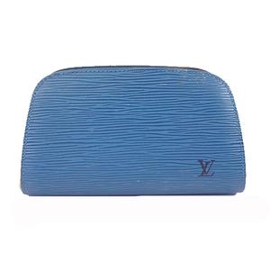 Auth Louis Vuitton Epi Dauphine PM M48445 Women's Pouch Toledo Blue