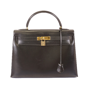 Auth Hermes Kelly32 〇Lstamp Women's Box Calf Leather Handbag Black