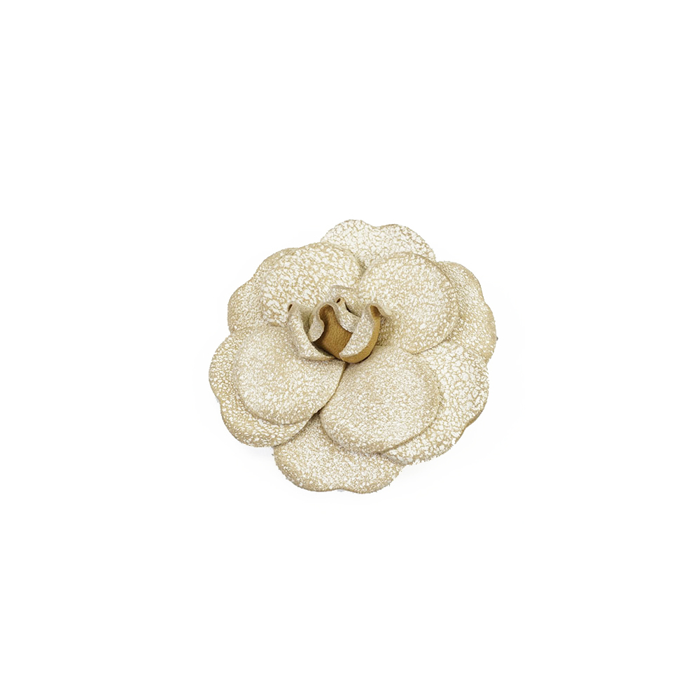 Chanel Camellia Leather Brooch Beige Color