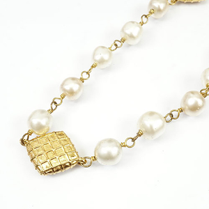 Auth Chanel Matelasse Necklace GP Plating Face Pearl Vintage