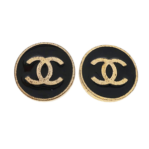 Auth Chanel Earring Coco Mark GP Plating 01P 2001 Spring Collection