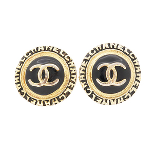 Auth Chanel Earring Coco Mark Gold Plating Vintage