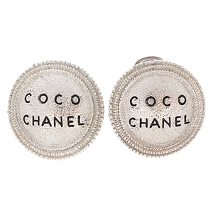 Auth Chanel Earring Logo Motif Vintage Silver Color
