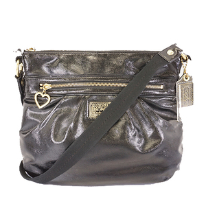Coach Poppy F22147 Women's Leather Shoulder Bag Black