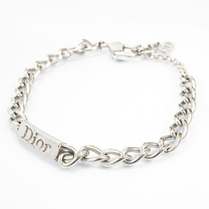 Auth Christian Dior Bracelet Logo Motif Square Plate Silver Color