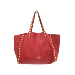 Valentino Garavani Medallion Studs Women's Leather Tote Bag Red