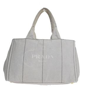 プラダ(Prada) カナパ キャンバス ハンドバッグ グレー