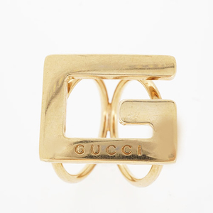Gucci scarf ring G mark logo motif GP plated gold color scarf closure
