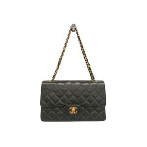 Chanel Matelasse A01112 Double Flap Double Chain Bag Women's Leather Shoulder Bag Black