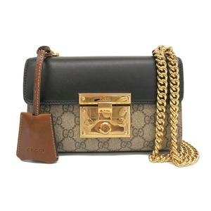 Gucci Padlock 409487 Women's Leather GG Supreme Shoulder Bag Black,Beige