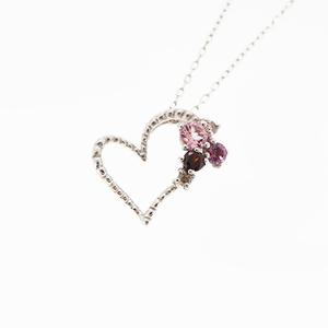 Necklace Heart Motif K10WG Pink Tourmaline Garnet natural diamond