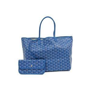 Goyard Saint Louis Saint Louis PM Women's Leather Canvas Tote Bag Blue