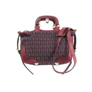 Fendi 8BL088 Women's Leather Canvas Handbag Red,Bordeaux