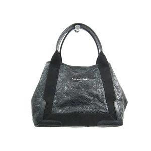 Balenciaga Navy Cabas S 339933 Unisex Leather Tote Bag Black